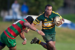 Sosefo Kata moves in to make the tackle on Seremaia Tagicakibau. Counties Manukau Premier Club Rugby game between Pukekohe and Waiuku played at Colin Lawrie Fields, Pukekohe, on Saturday July 3rd 2010. Pukekohe won 31 - 12 after leading 15 - 9 at halftime.