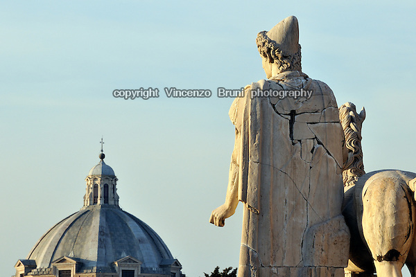 Rome, Italy: rear view of marble statue of Dioscuri topping the steps to Piazza del Campidoglio.