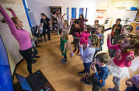NWA Democrat-Gazette/BEN GOFF @NWABENGOFF<br /> Students learn a song with Mollie Armour, Trike Theatre teaching artist, Tuesday, March 19, 2019, during the 'Broadway in Bentonville' spring break day camp at Trike Theatre in Bentonville. Kindergarten through 6th grade students develop their acting, singing and dancing skills studying a popular Broadway musical each day of the camp.