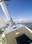Sailboat Sailing Charleston South Carolina Arthur Ravenel Jr Bridge over the Cooper River