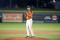 AZL Giants starting pitcher Keenan Bartlett (14) prepares to deliver a pitch to the plate against the AZL Rangers on September 4, 2017 at Scottsdale Stadium in Scottsdale, Arizona. AZL Giants defeated the AZL Rangers 6-5 to advance to the Arizona League Championship Series. (Zachary Lucy/Four Seam Images)