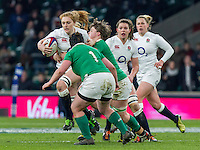 Harriet Millar-Mills in action, England Women v Ireland Women in a 6 Nations match at Twickenham Stadium, Whitton Road, Twickenham, England, on 27th February 2016