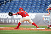 Clearwater Threshers first baseman Wilson Garcia (10) during a game against the Palm Beach Cardinals on April 15, 2017 at Spectrum Field in Clearwater, Florida.  Clearwater defeated Palm Beach 2-1.  (Mike Janes/Four Seam Images)