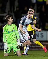 Bolton Wanderers' Ethan Hamilton (right) celebrates scoring his side's second goal as Burton Albion's goalkeeper Ben Garratt looks on <br /> <br /> Photographer Andrew Kearns/CameraSport<br /> <br /> The Premier League - Leicester City v Aston Villa - Monday 9th March 2020 - King Power Stadium - Leicester<br /> <br /> World Copyright © 2020 CameraSport. All rights reserved. 43 Linden Ave. Countesthorpe. Leicester. England. LE8 5PG - Tel: +44 (0) 116 277 4147 - admin@camerasport.com - www.camerasport.com