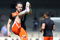 Blackpool's Antony Evans during the pre-match warm-up <br /> <br /> Photographer David Shipman/CameraSport<br /> <br /> The EFL Sky Bet League One - Scunthorpe United v Blackpool - Friday 19th April 2019 - Glanford Park - Scunthorpe<br /> <br /> World Copyright © 2019 CameraSport. All rights reserved. 43 Linden Ave. Countesthorpe. Leicester. England. LE8 5PG - Tel: +44 (0) 116 277 4147 - admin@camerasport.com - www.camerasport.com