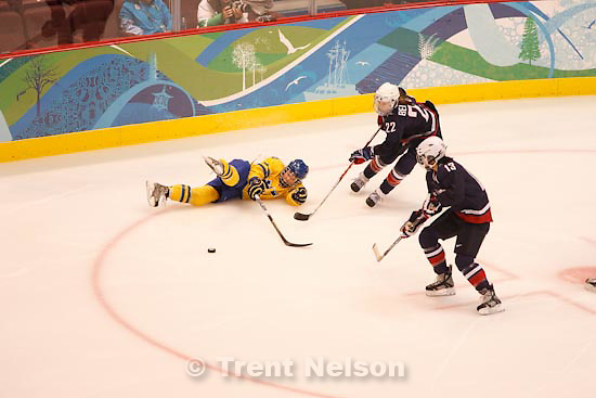 Trent Nelson  |  The Salt Lake Tribune.USA vs. Sweden, women's hockey, at the XXI Olympic Winter Games in Vancouver, Monday, February 22, 2010.