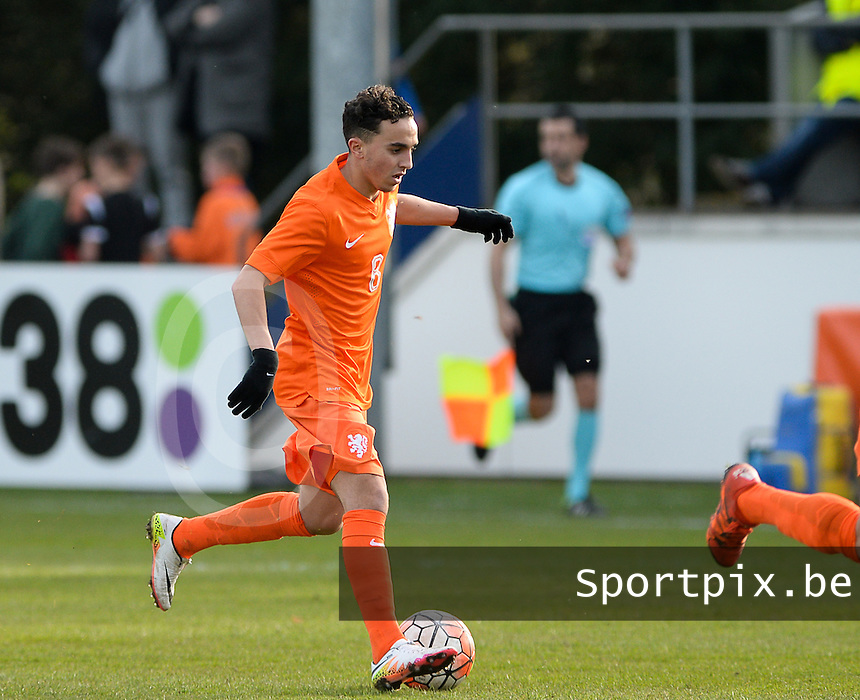 20160326  - Uden , NETHERLANDS : Dutch Abdelhak Nouri (8) pictured during the soccer match between the under 19 teams of The Netherlands and Northern Ireland , on the second matchday in group 4 of the UEFA Under19 Elite rounds in Uden , Netherlands. Saturday 26 th March 2016 . PHOTO DAVID CATRY