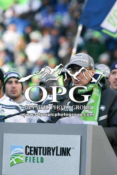 2014-02-05:  Seattle Seahawks owner Paul Allen thanks the fans in attendance for supporting the hawks.  Seattle Seahawks players and 12th man fans celebrated bringing the Lombardi trophy home to Seattle during the Super Bowl Parade at Century Link Field in Seattle, WA.