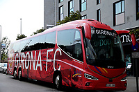 The Girona FC team coach waits outside the Hilton for the players to finish their pre match meal before Girona FC vs Tottenham Hotspur, Friendly Match Football at Estadi Montilivi on 4th August 2018
