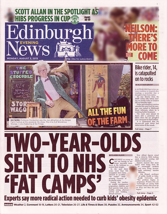 Tearsheet, Edinburgh Evening News, 03 August 2015<br /> <br /> Main picture taken by Malcolm McCurrach | New Wave Images UK<br /> <br /> Image by: Malcolm McCurrach<br /> Mon, 3, August, 2015 |  © Malcolm McCurrach 2015 |  Insertion and use fees apply |  All rights Reserved. picturedesk@nwimages.co.uk | www.nwimages.co.uk | 07743 719366