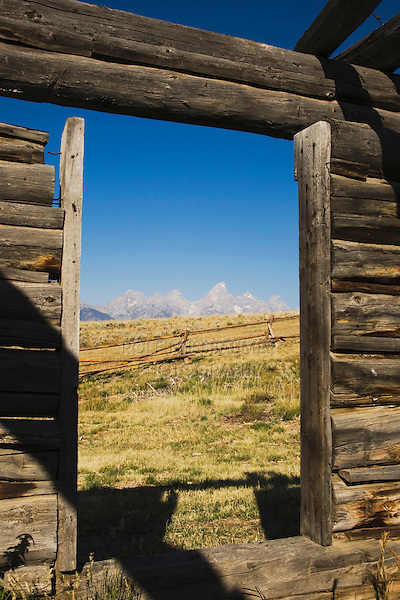 Old wooden Barn and grand teton range, Antelope Flats, Grand Teton NP,Wyoming, USA
