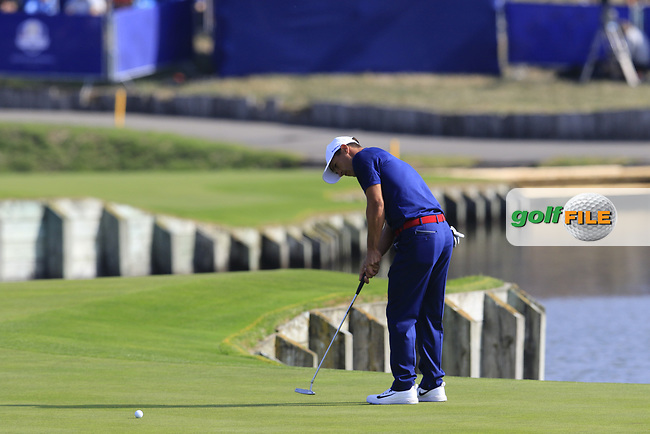 Thorbjorn Olesen Team Europe putts on the 15th green during Friday's Fourball Matches at the 2018 Ryder Cup, Le Golf National, Iles-de-France, France. 28/09/2018.<br /> Picture Eoin Clarke / Golffile.ie<br /> <br /> All photo usage must carry mandatory copyright credit (© Golffile | Eoin Clarke)