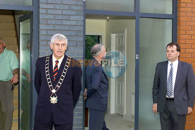Mayor Jimmy Mulroy speaking at the Launch of the Haymarket development in Drogheda with County Manager John Quinlivan showing his interest in the Background...Picture Fran Caffrey Newsfile.