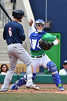 Catcher Dom Nunez (9) of the Hartford Yard Goats makes a throw to second base during a game against the New Hampshire Fisher Cats at Dunkin Donuts Park on April 8, 2018 in Hartford, Connecticut.<br /> (Gregory Vasil/Four Seam Images)