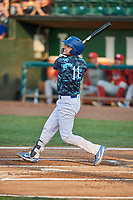 Tre Todd (11) of the Ogden Raptors bats against the Orem Owlz at Lindquist Field on August 3, 2018 in Ogden, Utah. The Raptors defeated the Owlz 9-4. (Stephen Smith/Four Seam Images)