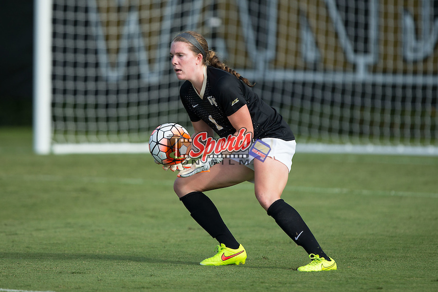 Lindsay Preston (1) of the Wake Forest Demon Deacons catches the ball during second half action against the Georgia Bulldogs at Spry Soccer Stadium on August 23, 2015 in Winston-Salem, North Carolina.  The Deacons defeated the Bulldogs 4-0.  (Brian Westerholt/Sports On Film)