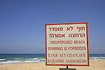 Israel, Southern Coastal Plain, No Swimming sign at Palmahim Beach