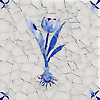 Tulip Delft, a hand-cut cut jewel glass mosaic, shown in  Opal Sea Glass™ with jewel glass Lapis Lazuli, Iolite, and Covelite, is part of the Sea Glass™ Collection by New Ravenna.