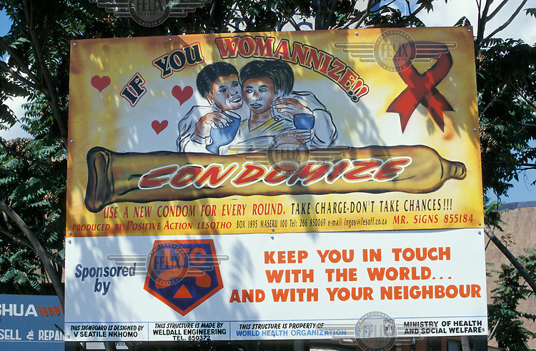 An AIDS education poster, featuring sponsorship from the Lesotho Telephone Company.