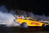 Feb 7, 2014; Pomona, CA, USA; NHRA funny car driver Del Worsham during qualifying for the Winternationals at Auto Club Raceway at Pomona. Mandatory Credit: Mark J. Rebilas-