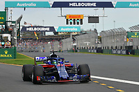 March 24, 2018: Brendon Hartley (NZL) #28 from the Red Bull Toro Rosso Honda team leaves the pit for his qualifying lap at the 2018 Australian Formula One Grand Prix at Albert Park, Melbourne, Australia. Photo Sydney Low