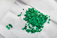 Rough emeralds seen before being processed in a cutting and polishing workshop in Bogota, Colombia, 7 February 2014. Approximately 60 percent of the world's total amount of emeralds come from Colombia. Most of the rough gems are processed in workshops located in the emerald district in downtown Bogota. Due to their special clarity and deep vivid green color, Colombian gemstones are considered the most beautiful emeralds in the world.