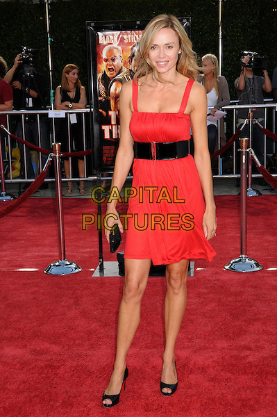 "VANESSA ANGEL .""Tropic Thunder"" Los Angeles Premiere at Mann's Village Theatre, Westwood, California, USA, 11 August 2008. .full length red dress black belt shoes clutch bag .CAP/ADM/BP.©Byron Purvis/Admedia/Capital PIctures"