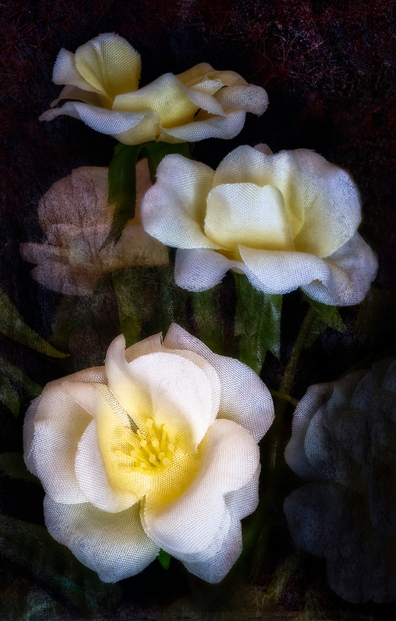silk flowers, stacked image, macro flowers, yellow silk flowers, dramatic flowers,