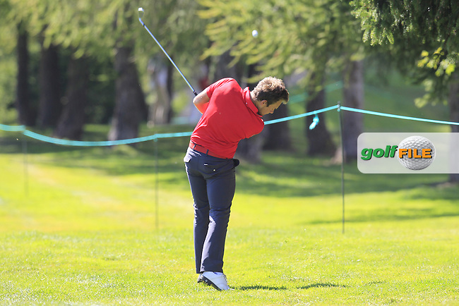 Tyrrell HATTON (ENG) plays his 2nd shot from the rough on the 14th hole during Saturday's Round 3 of the 2014 Omega European Masters held at the Crans Montana Golf Club, Crans-sur-Sierre, Switzerland.: Picture Eoin Clarke, www.golffile.ie: 6th September 2014