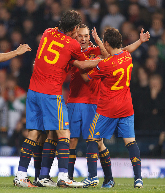 Iniesta scores goal no 2 for Spain and is mobbed