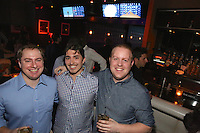 Brett Biggs, Robert Palm and Tommy Scerbo attend the Happy Groups Launch Party at the Luxe Lounge at Lucky Strike, on May 22 in New York City.