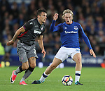 Hysen Memolla of Hajduk Split tussles with Tom Davies of Everton during the Europa League Qualifying Play Offs 1st Leg match at Goodison Park Stadium, Liverpool. Picture date: August 17th 2017. Picture credit should read: David Klein/Sportimage