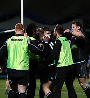 28th February 2020; RDS Arena, Dublin, Leinster, Ireland; Guinness Pro 14 Rugby, Leinster versus Glasgow; Kyle Steyn (Glasgow Warriors) celebrates his try with his teammates