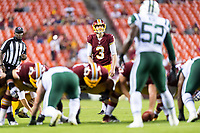 Landover, MD - August 16, 2018: Washington Redskins kicker Dustin Hopkins (3) kicks the game winning field goal during preseason game between the New York Jets and Washington Redskins at FedEx Field in Landover, MD. (Photo by Phillip Peters/Media Images International)