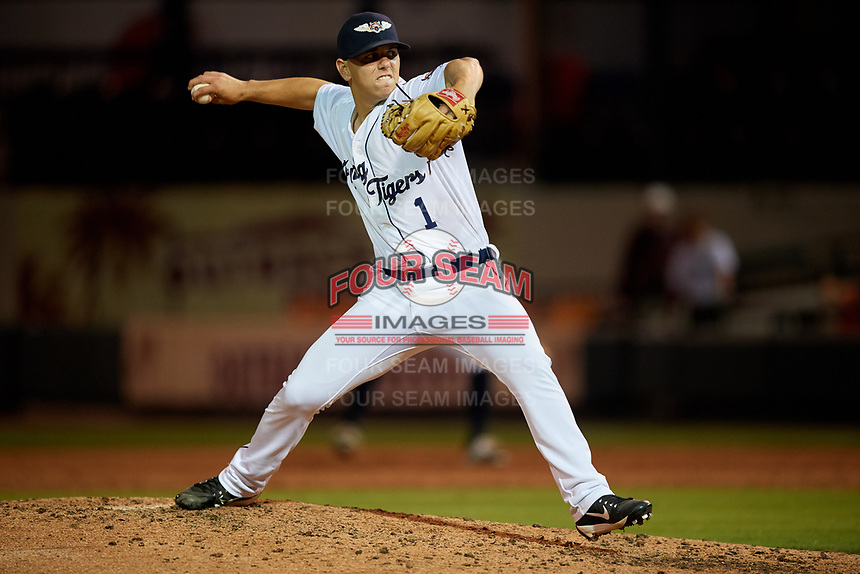 Lakeland Flying Tigers relief pitcher Joe Navilhon (1) delivers a pitch during a game against the Tampa Tarpons on April 5, 2018 at Publix Field at Joker Marchant Stadium in Lakeland, Florida.  Tampa defeated Lakeland 4-2.  (Mike Janes/Four Seam Images)