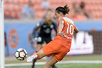 Houston, TX - Saturday June 17, 2017: Carli Lloyd takes a shot at the Orlando goal during a regular season National Women's Soccer League (NWSL) match between the Houston Dash and the Orlando Pride at BBVA Compass Stadium.