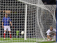 Gavin Reilly and the ball in the net after Nicky Clark's dramatic late equaliser in the Rangers v Queen of the South Quarter Final match in the Ramsdens Cup played at Ibrox Stadium, Glasgow on 18.9.12.