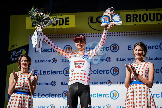Tim Wellens (BEL) Lotto-Soudal retains the Yellow Jersey at the end of Stage 9 of the 2019 Tour de France running 170.5km from Saint-Etienne to Brioude, France. 14th July 2019.<br /> Picture: ASO/Pauline Ballet | Cyclefile<br /> All photos usage must carry mandatory copyright credit (© Cyclefile | ASO/Pauline Ballet)