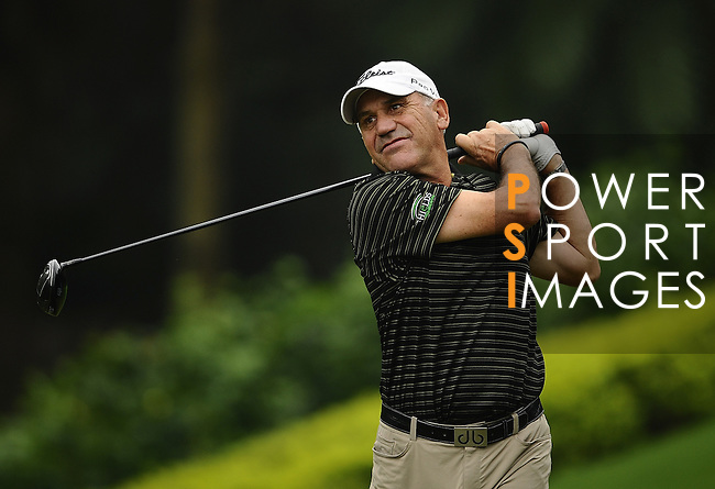 TAIPEI, TAIWAN - NOVEMBER 18:  Bill Longmuir of Scotland tees off on the 16th hole during day one of the Fubon Senior Open at Miramar Golf & Country Club on November 18, 2011 in Taipei, Taiwan. Photo by Victor Fraile / The Power of Sport Images