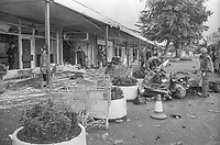 Provisional IRA car bomb attack at Supermac supermarket, Saintfield Road, Belfast, N Ireland, 7th September 1974. Supermac was the predecessor of the Forestside Shopping Centre. 197409070477a<br />