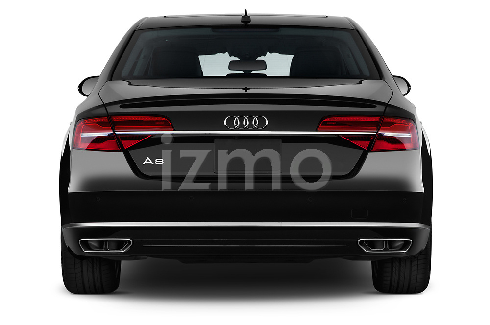 Straight rear view of 2015 Audi A8 3.0T SWB quattro tiptronic 4 Door Sedan stock images