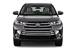 Car photography straight front view of a 2017 Toyota Highlander LE-Plus 5 Door SUV Front View