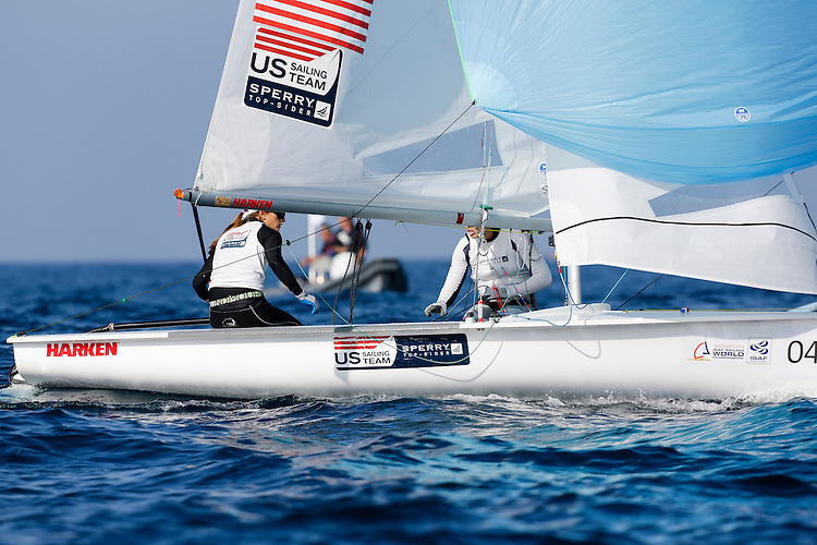 SANTANDER, SPAIN - SEPTEMBER 14:  470 Women - USA1712 - Anne Haeger / Briana Provancha in action during Day 3 of the 2014 ISAF Sailing World Championships on September 14, 2014 in Santander, Spain.  (Photo by MickAnderson/SAILINGPIX via Getty Images)