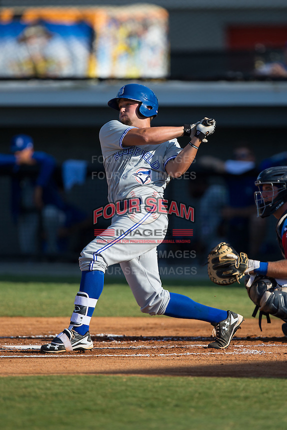 Bradley Jones (24) of the Bluefield Blue Jays follows through on his swing against the Burlington Royals at Burlington Athletic Stadium on June 26, 2016 in Burlington, North Carolina.  The Blue Jays defeated the Royals 4-3.  (Brian Westerholt/Four Seam Images)