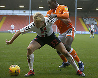 Charlton Athletic's George Lapslie shields the ball from Blackpool's Marc Bola<br /> <br /> Photographer Stephen White/CameraSport<br /> <br /> The EFL Sky Bet League One - Blackpool v Charlton Athletic - Saturday 8th December 2018 - Bloomfield Road - Blackpool<br /> <br /> World Copyright &copy; 2018 CameraSport. All rights reserved. 43 Linden Ave. Countesthorpe. Leicester. England. LE8 5PG - Tel: +44 (0) 116 277 4147 - admin@camerasport.com - www.camerasport.com