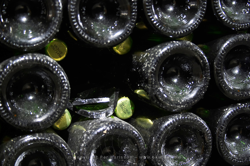 Bottles aging in the cellar. One bottle broken, exploded. Vallformosa, Vilobi, Penedes, Catalonia, Spain