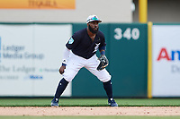 Detroit Tigers second baseman Josh Harrison (1) during a Grapefruit League Spring Training game against the New York Yankees on February 27, 2019 at Publix Field at Joker Marchant Stadium in Lakeland, Florida.  Yankees defeated the Tigers 10-4 as the game was called after the sixth inning due to rain.  (Mike Janes/Four Seam Images)