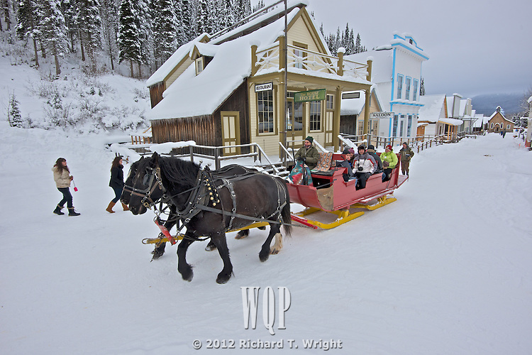 Christmas at Barkerville Historic Town.  Horse-drawn sleigh rides are one of the winter and Christmas highlights