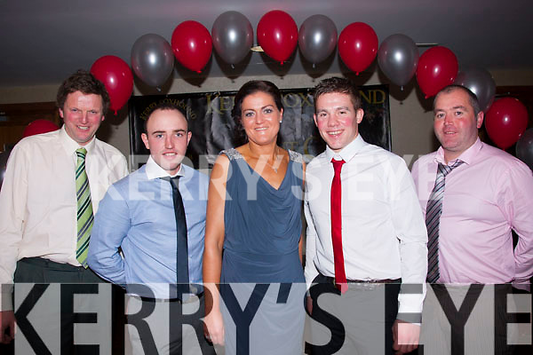 Social<br /> -------<br /> Attending their annual Christmas social were members of Kerry Foxhounds Hunt club in the Manor West hotel,Tralee last Saturday night were L-R Martin O'Leary,Padhraic Moynihan,Tina Healy,Padraig Nagle&Myles Healy.