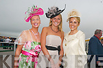 COMPETING: Gillian Kelleher from Millstreet, Lynda O'Callaghan and Mary Stapleton from Tralee were chosen as the final three for Best Dressed Lady during the races in Ballybeggan Tralee on Thursday afternoon.